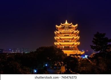 Yellow Crane Tower at twilight, the traditional Chinese multi-storey tower located on Sheshan (Snake Hill) in Wuhan, Hubei, China