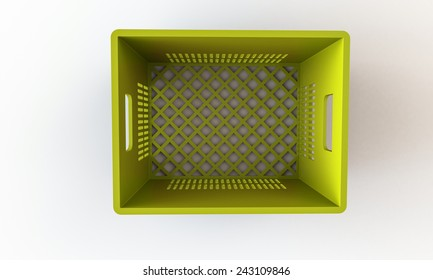 Yellow crate box isolated on white