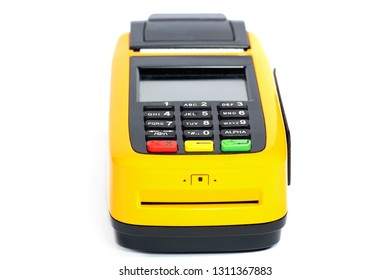 Yellow credit card reader terminal on isolated background. Easy payment method.