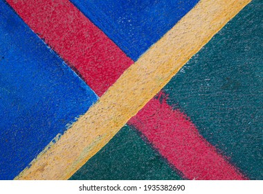 yellow cross red line multicolor soccer field
