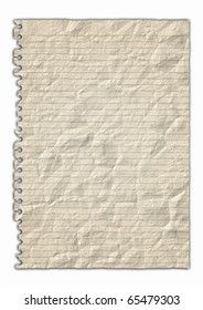 Yellow crumple Paper illustration on white background
