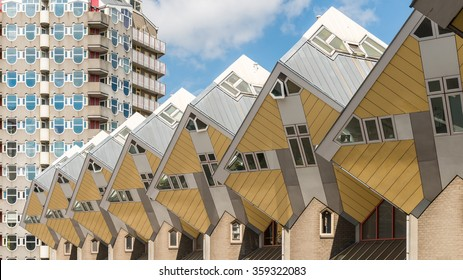 Yellow Cube houses in Rotterdam under Clear Blue Sky in Summer Sunny Daytime, Netherlands