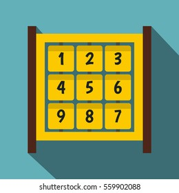 Yellow cubes with numbers on playground icon. Flat illustration of yellow cubes with numbers on playground  icon for web isolated on baby blue background
