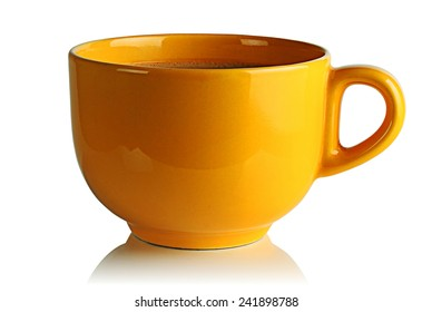 Yellow Cup of coffee on a white background.