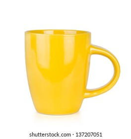 Yellow Cup Isolated on White