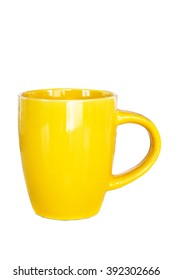 Yellow cup Isolated on white background. cup  on white background