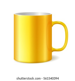 Yellow cup isolated on white background. Blank cup for branding. Photorealistic template. 3D illustration