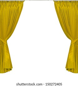 yellow curtains on white background