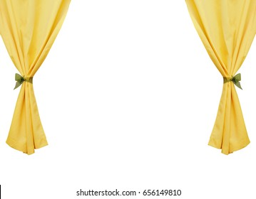 Yellow curtains on a white background
