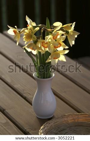 Yellow Daffodil Vase Stock Photo Edit Now 3052221 Shutterstock