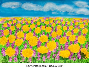 Yellow dandelions and purple spring flowers