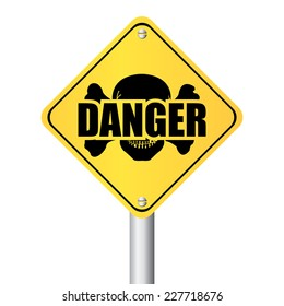 Yellow Danger With Skull Road Sign or Street Sign Isolated on White Background