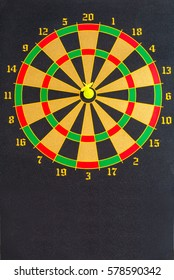 Yellow dart hit the center of the target.