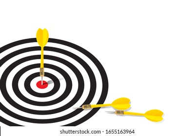 Yellow dart hit the red bulleye and  some missing the target lay on the white space near the targer bacground, Keep trying for success Idea concept