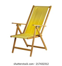 Yellow deck chair isolated on white background