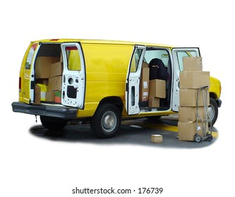 Yellow delivery van & shipping boxes.