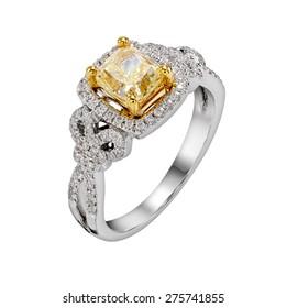 yellow diamond ring. isolate on white