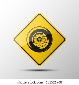 yellow diamond road sign with a black border and an image a sport wheel on white background. Illustration