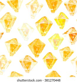 Yellow diamonds. Watercolor illustration of crystal. Seamless gemstone pattern.