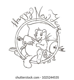 Yellow dog for New Year 2018, cute symbol of horoscope. Cute puppy in cartoon doodle style. Raster illustration.