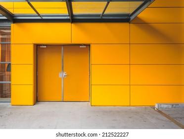 Yellow door with security lock