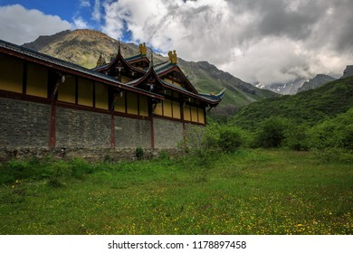 Yellow Dragon Chinese Temple in Huanglong Scenic Area in Sichuan Province, China. Beautiful and exotic natural geological landforms caused by erosion over time, natural terraces. National Forest