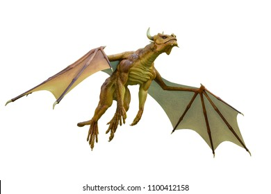 yellow dragon in a white background 3d illustration