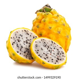 yellow dragonfruit pitahaya path isolated on white