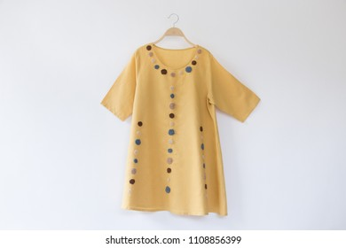 Yellow dress with Hand Embroidery Flowers