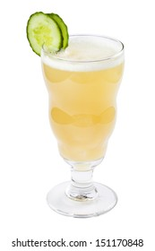 Yellow drink isolated on white background
