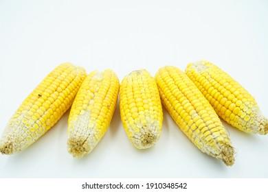 Yellow dry peeled corn, isolated on white background
