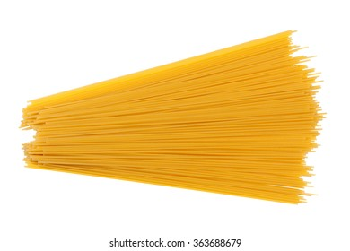 yellow dry spaghetti isolated on white background