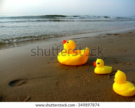 Yellow Duck Rubber Duck Duck Toys Duck On Beach Stock Photo (Edit ...