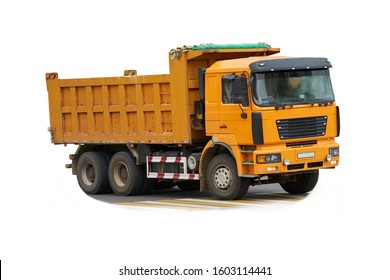 Yellow dump truck isolated on white background.