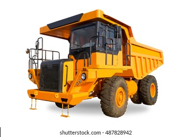 Yellow dump Truck on the white background with clipping path.