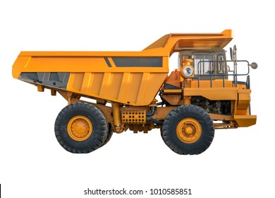 yellow Dumper industrial truck isolated on the white background.