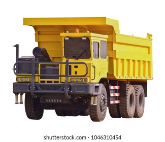yellow Dumper industrial truck isolated on the white background. This has clipping path.