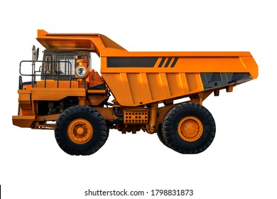 yellow Dumper industrial truck isolated on the white background. Mining Haul Truck Isolated (side view). Clipping path.