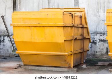 yellow dumpster, dirty industry steel bin