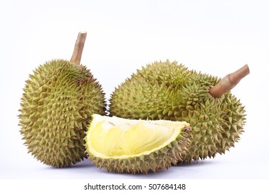 yellow durian  mon thong is king of fruits durian and  durian peeled fruit plate tropical durian on white background healthy durian fruit food isolated