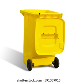 Yellow dustbin open cover isolated on white background. This has clipping path.