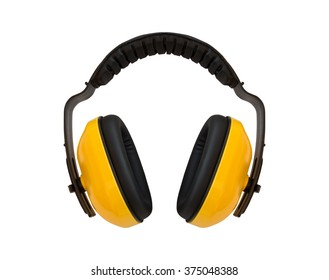 Yellow ear muff on white background