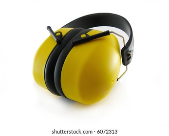 Yellow earplug isolated on white