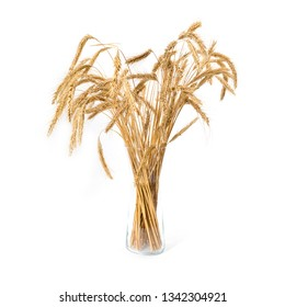 Yellow ears of wheat in a vase isolated on white background.