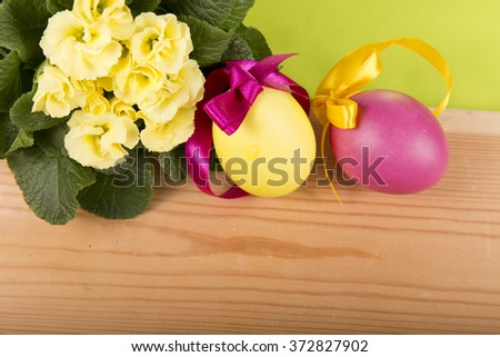 Yellow Easter Eggs Flowers Stock Photo Edit Now 372827902