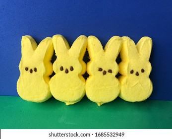 Yellow Easter marshmallow peeps candy