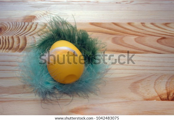 yellow egg lying on  feathers with wooden background