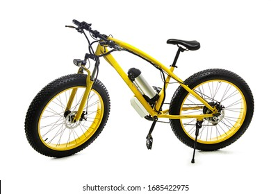 Yellow electric bike on white background.Sport bike.