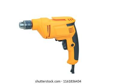 Yellow electric drill isolated on white background