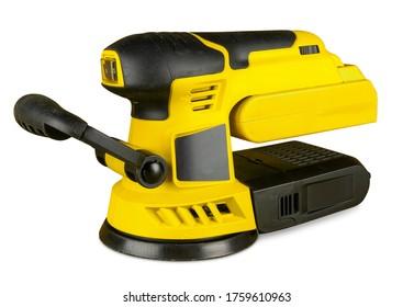 yellow electric wood random orbital sander isolated on white background. sanding machine carpentry construction diy concept.